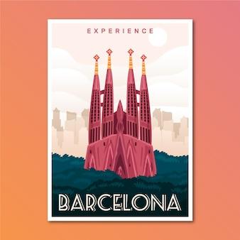 Poster di viaggio vacanza a barcellona
