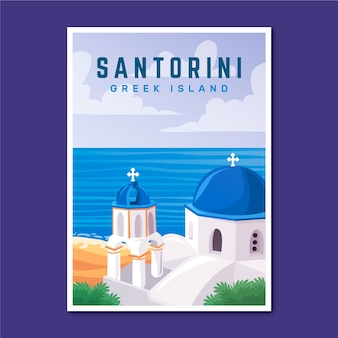 Poster di viaggio vacanza di santorini