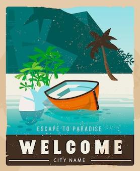 Poster di viaggio vettoriale in stile vintage.