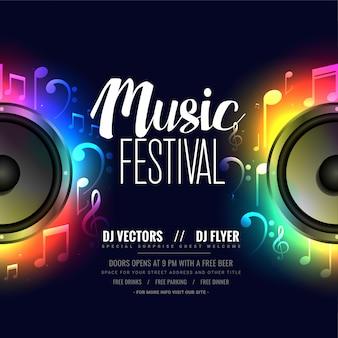 Poster di volantino di musica con altoparlante colorato