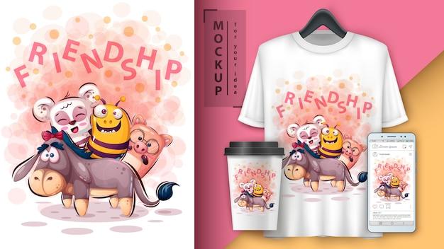 Poster e merchandising animali amico carino