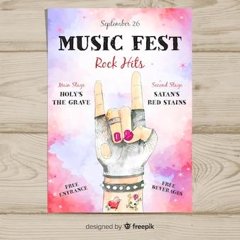 Poster festival di musica ad acquerello