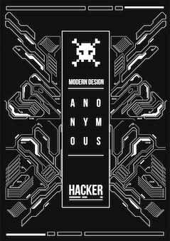 Poster futuristico cyberpunk. modello di poster futuristico retrò. modello di manifesto astratto di tecnologia.