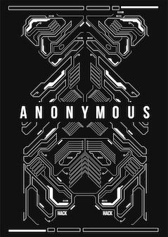 Poster futuristico cyberpunk. modello di poster futuristico retrò.