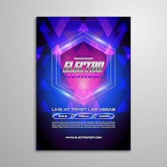 Poster futuristico di festival di musica elettronica
