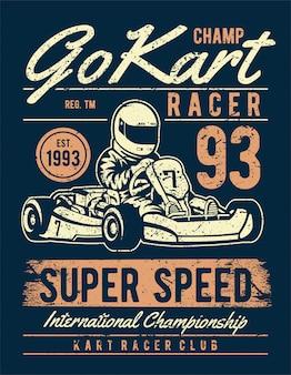 Poster go kart racer in stile vintage