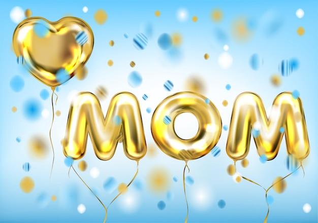 Poster i love mom di palloncini in lamina lucida