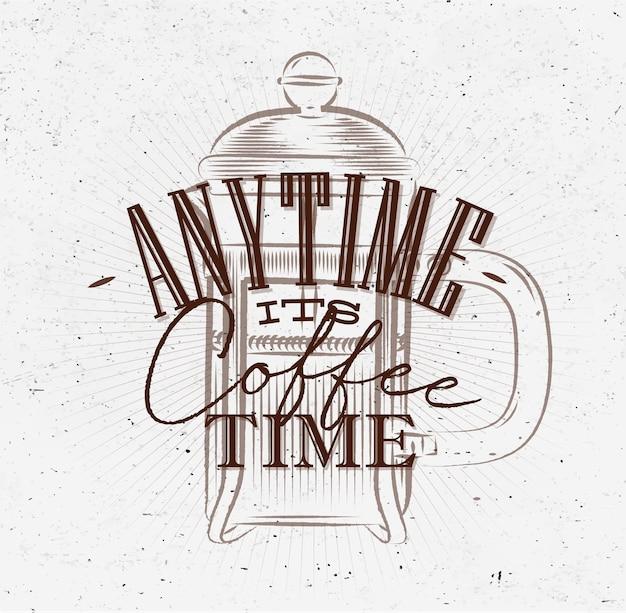Poster il suo tempo di caffè marrone