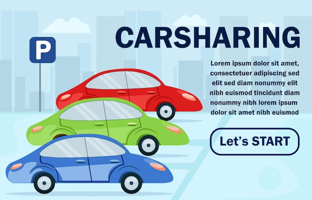Poster informativo carsharing lettering flat.