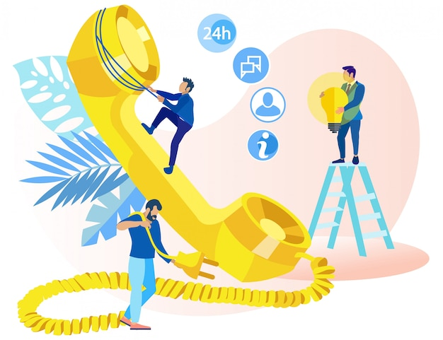 Poster informativo idee di telemarketing piatte.