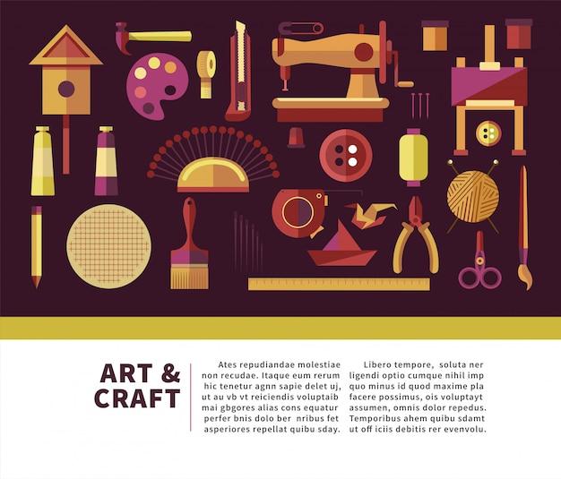 Poster informativo promozionale di arte e artigianato con attrezzatura speciale