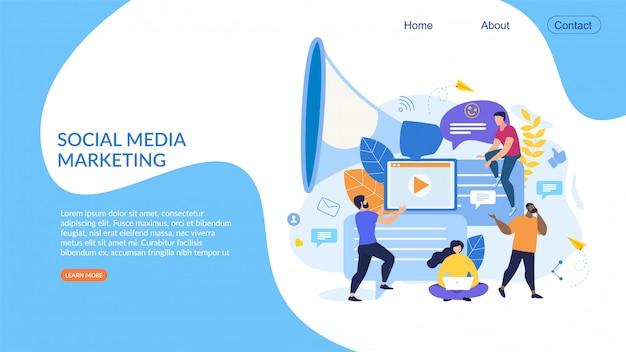 Poster informativo social media marketing flat.