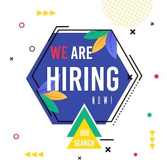 Poster iscrizione che stiamo assumendo ora ricerca di lavoro.