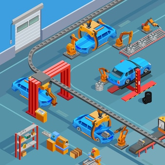 Poster isometrico del sistema di fabbricazione automobilistica del trasportatore