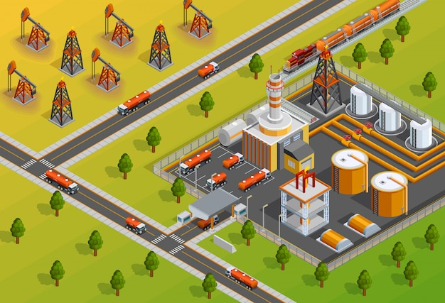 Poster isometrico della struttura della raffineria di industria di oill