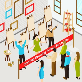 Poster isometrico di art studio