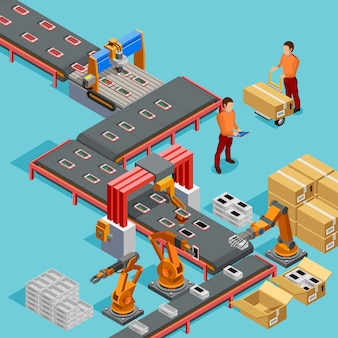 Poster isometrico di linea di produzione automatizzata in fabbrica