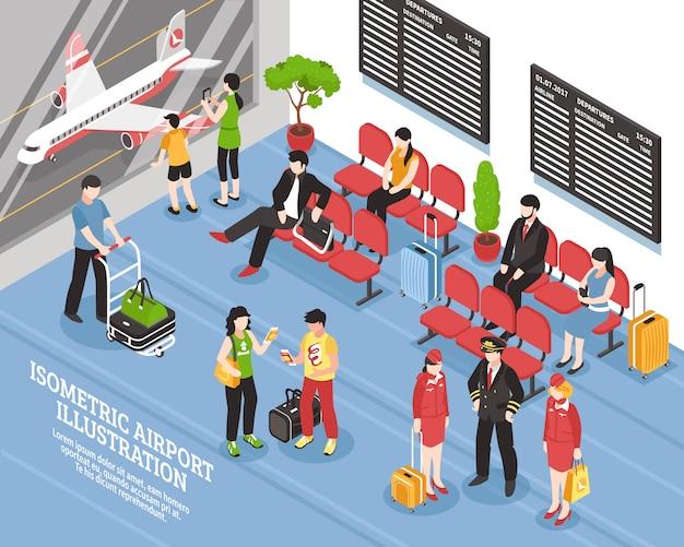 Poster isometrico di partenza aeroporto lounge