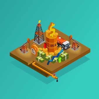 Poster isometrico di profitti di produzione dell'industria petrolifera