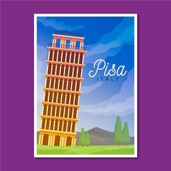 Poster itinerante con pisa illustrato