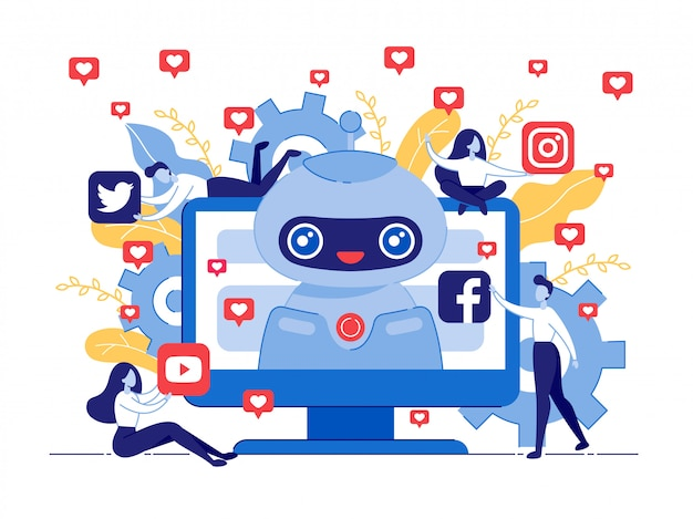 Poster like bot per social networks cartoon flat.