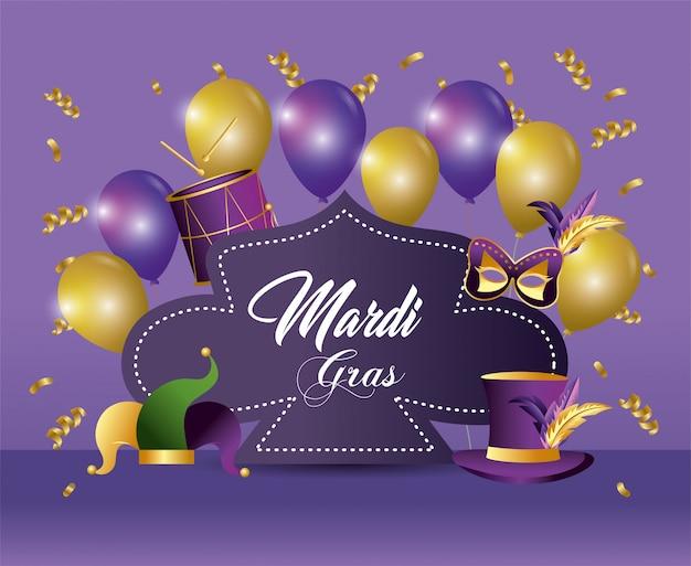 Poster merdi gras evento con decorazione palloncini