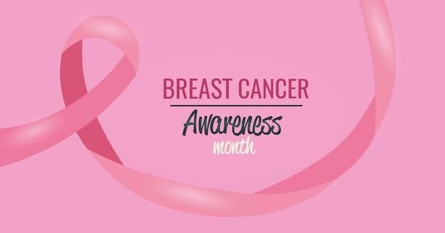 Poster mese consapevolezza del cancro al seno con nastro