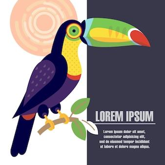 Poster modello con l'immagine dell'uccello tucano.