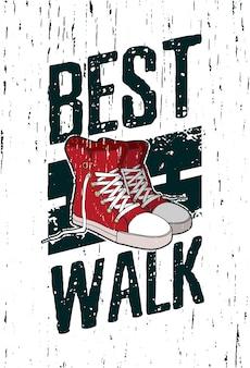 Poster motivazionale, cartello, foto di uno stile di strada con texture grunge e scarpe da ginnastica rosse