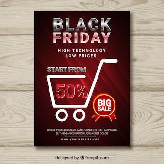 Poster nera friday con carrello della spesa