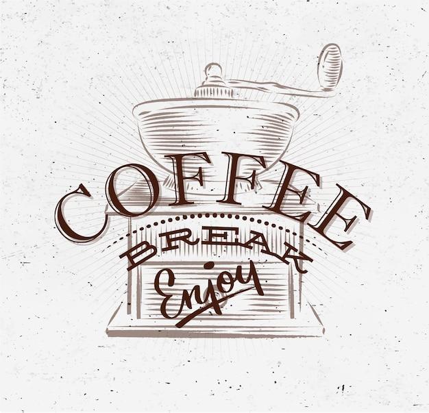 Poster pausa caffè marrone