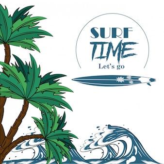 Poster per il tema del tempo di surf