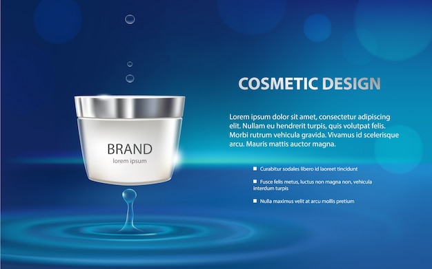 Poster per la promozione del prodotto cosmetico idratante premium