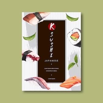 Poster per la pubblicità del ristorante sushi.