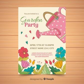 Poster per party in giardino con annaffiatoio