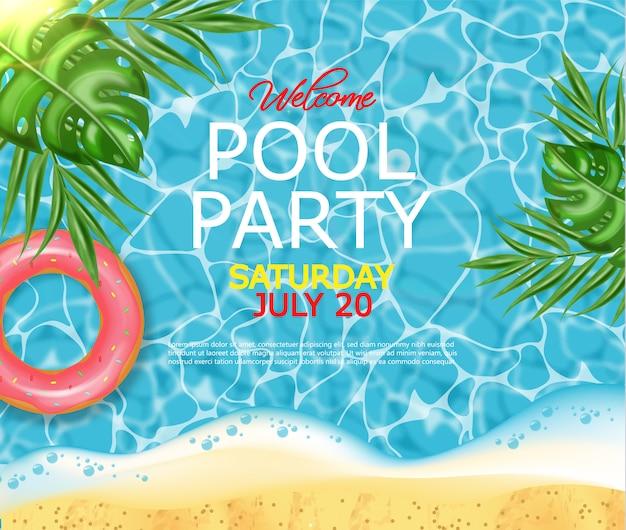 Poster per piscina estiva e salvagente