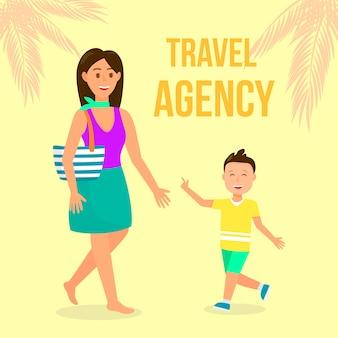 Poster piatto colore agenzia di viaggi con lettering.