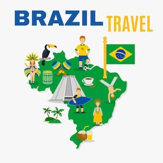 Poster piatto dell'agenzia di viaggi della cultura del brasile