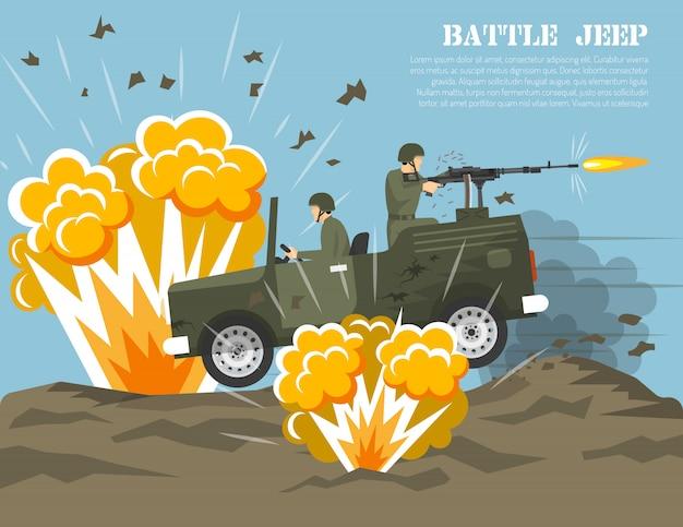 Poster piatto di ambiente di battaglia dell'esercito militare