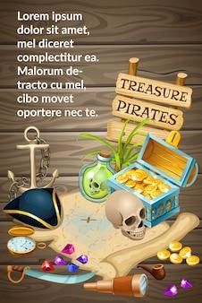 Poster pirata con tesori, gemme e teschio.
