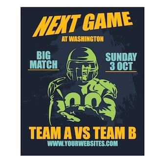 Poster professionale football americano e gioco di rugby