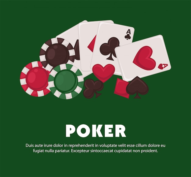 Poster promozionale del gioco del poker con carte da gioco e fiches