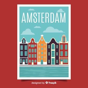 Poster promozionale retrò di amsterdam