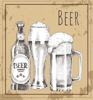 Poster promozionale vintage di bicchiere di birra, bottiglia e tazza