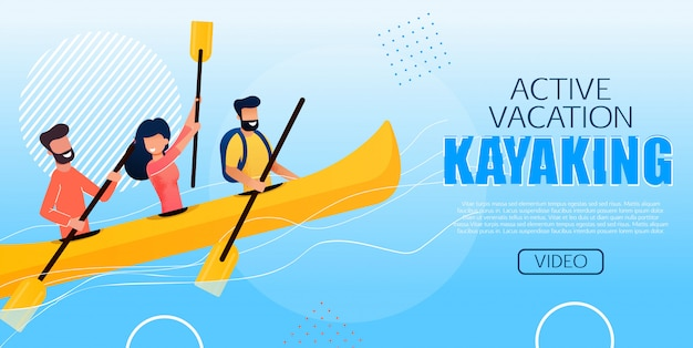 Poster pubblicitario active vacation kayaking flat