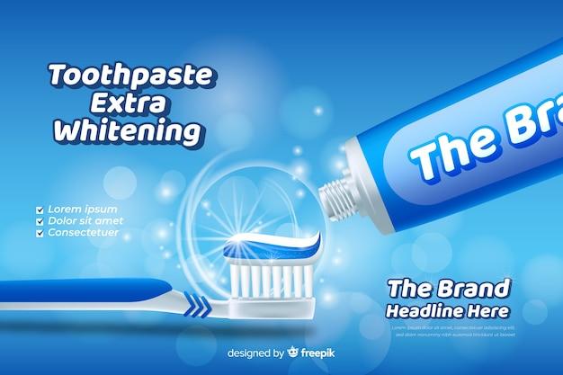 Poster pubblicitario dentifricio fresco realistico