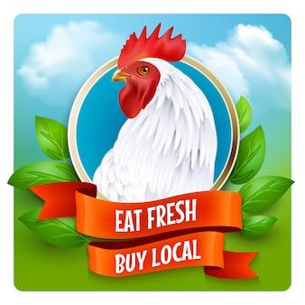 Poster pubblicitario di testa gallo bianco