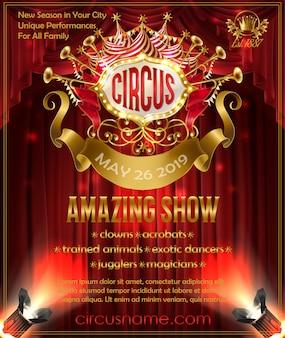 Poster pubblicitario per il circo spettacolo sorprendente, invito alla performance di circo.