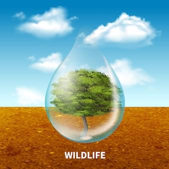 Poster pubblicitario sulla fauna selvatica