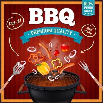 Poster realistico di barbecue